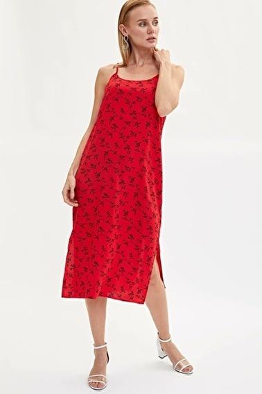 DeFacto Desenli Aksılı Dokuma Elbise Kırmızı